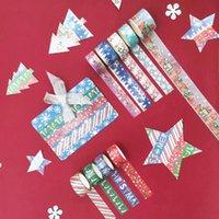 9pcs / set joyeux Noël argent feuille washi ruban de neige flocons de neige raide rubanches de masquage papeterie Scrapbooking 2016