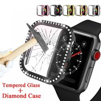 Diamond Cases+Tempered Glass Screen Protector For Apple Watch 38mm 42mm 40mm 44mm Bumper iWatch SE Series 6 5 4 3 Cover Case