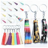 Suede Tassel Vinyl Keyring Tassel Keychain Bag Pendant Accessories Women Tassel Key Chain Fashion Jewelry Charm Party Favor RRA3497
