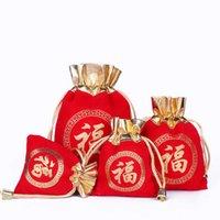 5 unids bolsa de terciopelo de oro rojo cordón bolsa de joyería collar pulsera brazalete de boda de boda de boda de navidad al por mayor