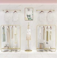 Clothing Store Display Rack Floor Type Light Luxury Gold Combination Shelf Hangers & Racks