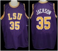 크리스 잭슨 # 35 LSU 호랑이 대학 레트로 농구 유니폼 망 스티치 사용자 정의 모든 번호 이름 유니폼