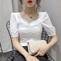 Women's Blouses & Shirts COIGARSAM Vintage Blouse Women Summer Pleated Blusas Womens Tops And White Black Purple Rose Pink 965