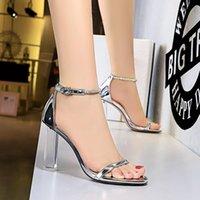 Sandals 2021 Luxury Women 9.5cm High Heels Crystal Stripper Clear Square Block Sandles Wedding Bridal Shoes Plus Size 43