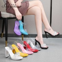 Wedding Shoes Comfortable Square Heel Sandle Summer Sexy Show Platform Crystal Girl Party Big Size 210712