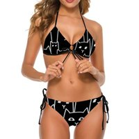 Two-piece Suits Suspicious Cats Bikini Swimsuit Suspender High Quality Classic Swimwear Bathing 2 Piece Youth Suit