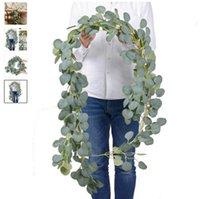 Decorative Flowers & Wreaths Dense Leaf Artificial Eucalyptus Garland Faux Silk Leaves Vines Handmade Greenery Wedding Backdrop Arch Wall Decoration