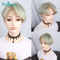 BeQueen Summer Short Lace Front Human Hair Wigs For Women Pixie Cut Wig 613 13x6 Bob Wigs1