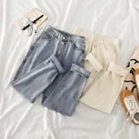 Lism Cotton Abricot Jeans Femmes Taille haute Harem Mom Jeans Printemps 2020 Plus Taille Vintage Qualité Harajuku Pantalons droits Harajuku Femme Y0320