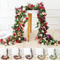 Dekorative Blumen Kränze 45 Blütenköpfe / Chargen Künstliche 8ft Seide Rose Girlande Gefälschte Blätter DIY Garten Hochzeit Halloween Weihnachten D
