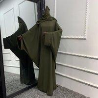 Ethnic Clothing Muslim Women Hijab Dress Prayer Clothes Batwing Abaya Matching Head Cover Scarf Islam Jilbeb Dubai Turkey Saudi Jilbaab