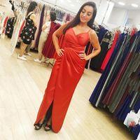 Arrival Spaghetti Strap Draped Evening Dresses Simple Prom Dress Formal Party Gowns Dubai Vestidos de fiesta