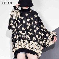 Xitao Chiffon stampa modello camicetta moda nuove donne primavera manica a maniche lunghe pullover elegante minoranza casual camicia casual GCC3233 201201