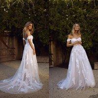 País boho una línea vestidos de novia sexy sin espalda una línea de hombro apliquen tul largo verano vestido nupcial bohemio