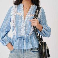 Luxusdesigner Kleid Maje Frühling und Sommer vielseitig ethnischer Stil aushöhlen Spitze Taillenhemd MFPTO