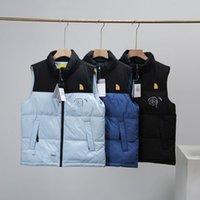 Зимняя мода мужские жилеты классики буква радуга печать женщин куртка без рукавов утолщение пальто активная одежда верхняя одежда поддерживать теплый открытый