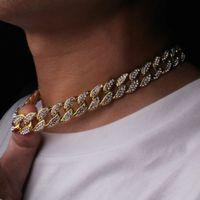 HIP HOP BLING Chaînes de mode Bijoux Mens Gold Miami Cuban Link Chaîne Colliers Diamant Glafe Out Chian