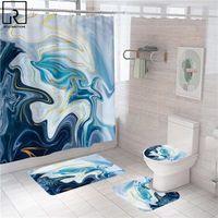 Color colorido de la ducha de mármol moderno con ganchos Anti-deslizamiento alfombras de baño conjunto de alfombrillas de baño suave alfombra cubierta de inodoro baño wc accesorios cortinas