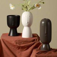 Vases Nordic Creative Ceramic Art Face Vase Decoration Home Decor Modern Luxury Large Dry Flower Living Room Gift