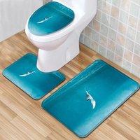Carpets Bathroom 3PCS Carpet Set Absorbent Toilet Pedestal Rug Anti-slip Doormat Shower Mat Flannel Soft Cover Seat Mats