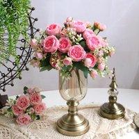 30 cm rosa rosa peonía de seda flores artificiales ramo 5 gran cabeza y 4 brotes flores falsas baratas para casa decoración de boda interior