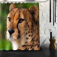 Душевые занавески Шунский гепард занавес 3D Printing 12 крючков для ванной комнаты Высококачественный полиэстер из ткани ванны