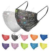 Fashion 10pcs Colorful Mesh Masks Bling Diamond Party Mask Rhinestone Grid Net Mask Washable Sexy Hollow Mask for Women Fdfh