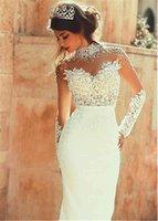 Bainha para trs pura com prolas, decote alto, mangas compridas, transparente, comprimento do cho, vestidos de casamento sensuais, costas