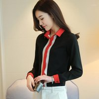 BIBOYAMALL Autumn Korean New Women Stripe Shirt Long Sleeve Slim Woman Blouses Plus Size Black Womens Tops and Blouses1