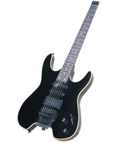 Headless Black 24 Frets Electric Guitar with Floyd Rose,White Binding,can be customized