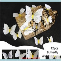 Magnets Décor & Garden12Pcs 3D Butterfly Wall Stickers Decal Decor Art Fridge Magnet Decoration Home High Quality Drop Delivery 2021 Qzyyd