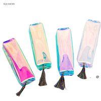 Yaratıcı Lazer Okul Kalem Çanta Kılıfları Renkli Şeffaf Kozmetik Makyaj Çanta Kılıfı Sevimli Kızlar Kalem Çantası Yüksek Kapasiteli SUP FWA4863
