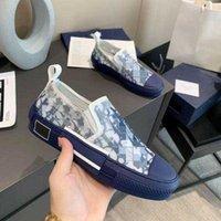 디자이너 신발 운동화 B23 비스듬한 낮은 맨 맨 운동화 B24 기술 캔버스 가죽 여성 캐주얼 구두 고품질 고급 트레이너