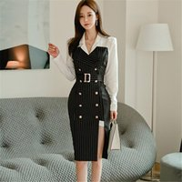 Korean Style Office Lady Slim Notched Collar Long Sleeve Dress Women Patchwork Double Breasted Striped 2021 Autumn Casual Dresses