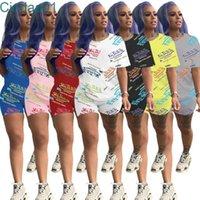 Donne Tracksuits Due pezzi Set Designer Letter Stampato Pantaloncini estivi Set Sexy T-shirt manica corta Sexy T-shirt Abiti 2 pezzi set da jogging