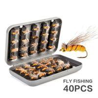 40pcs / Box Perlen Kopf Fliegenfischen Fliegen Set Trout Trockenfliegen Nass Angeln Federköder Künstliche Nymphenköder Forelle Bass Gill Combo