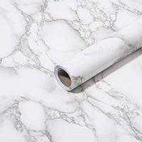 Art3D 120InX15.8in Selbstklebende Peel- und Stick Tapete für Küchenzähler Esstisch Grau Marmorpapier Matt