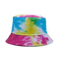 ريب ملون صبغ الصياد قبعة موضة الرجال والنساء جنباكن دلو مزدوجة القبعات الربيع الصيف قبعة الشمس في الصياد كاب G77unoo
