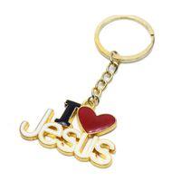 Ilove Jesus Christ Love Keychain Pendant Ring Religious Jewelry