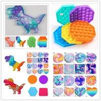 Cravate Dye Dinosaure Poo-Son Tiktok Fidget Toy Push Bubble Sensory Doigt jeu Simple Stress Soulagement Squeeze Squeeze Bulles Puzzle Vent Ball Holiday Cadeaux H32RH11