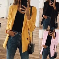 Women's Suits & Blazers Women 2021 Fashion Office Wear Pockets Coat Vintage Notched Collar Long Sleeve Female Outerwear Chic Tops