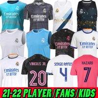 Adulte Kids Femme 20 21 22 Real Madrid Troisième Soccer Jerseys Vest Version Player Version Hazard Sergio Ramos Kroos Camiseta de futbol 2020 2021 2022 Chemise de football à manches longues