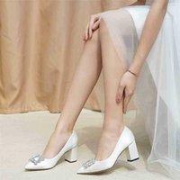 Chaussures de mariage Femmes Pompes Bride Satin Satin Épais 5cm Heels Fat Wedge Princesse Princesse Cristal Personnaliser 210610