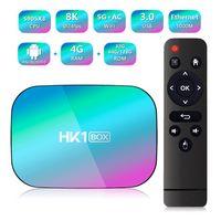 HK1 Android 9.0 TV Box 4GB + 32GB 64GB 128GB AMLOGIC S905X3 مشغل الوسائط رباعية النواة دعم المزدوج واي فاي BT5.0 الصوت البعيد