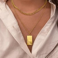 Pendant Necklaces Fashion Square Brand Pendants Necklace Multi-Layer Chain Choker For Women Geometric Charms Party Gift Jewelry