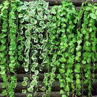 Decorative Flowers & Wreaths 12Pcs 2M Artificial Vine Grape Leaves Fake Hanging Plant Home Garden Wall Decoration Green Plants False Foliage