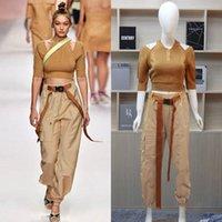 Mulheres s vestuário 2 peça conjunto supermodelo paris catwalk fashion week marrom off ombro mangas camisola + calças terno dois conjuntos macacões s-xl