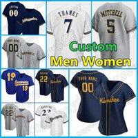 Пользовательские 22 христианских бейсбольных пивоваров христиана 6 Lorenzo Cain 19 Robin Yount Jersey 7 Eric Thames Brandon Woodruff Devin Williamsmens женщины