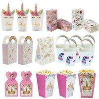 Unicorn kağıt parti kutusu patlamış mısır şeker hediye kutusu bisküvi çantası ilk çocuğun dekorasyon doğum günü partisi hediye çantası bebek banyo malzemeleri J0607