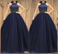 2022 Design Halter Dark Navy A Line Prom Dress Major Beaded Sexy Formal Evening Dresses Floor Length Satin Tulle Fashion Women Party Gowns